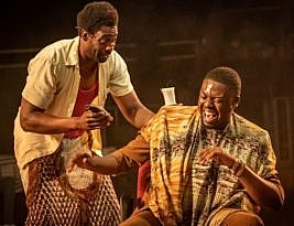 The Barber Shop Chronicles by Inua Ellams. National Theatre live until 20 May 2020. 4****.  William Russell