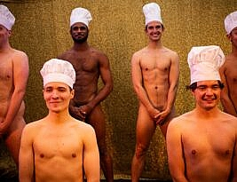 Naked Boys Singing conceived by Robert Shrock at The Garden Theatre, the Eagle, Vauxhall. 5*****. William Russell.